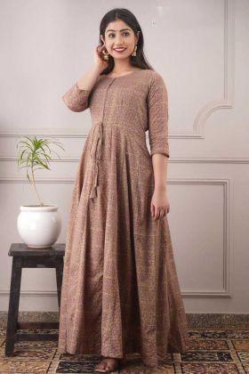 Trendy Brown Color Pure Chanderi College Wear Kurti