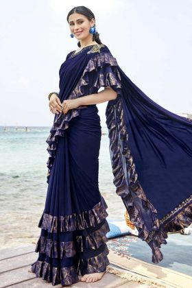 Trendy Designer Ruffle Saree In Hand Work Patch