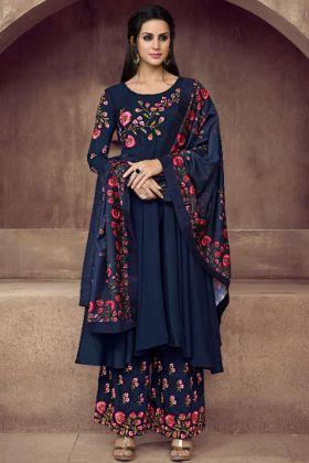 Trendy Festive Wearing Navy Blue Color Heavy Muslin Silk Salwar Women Dress