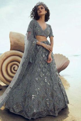 Trendy Grey Color Party Wear Heavy Lehengha Choli In Soft Net Fabric