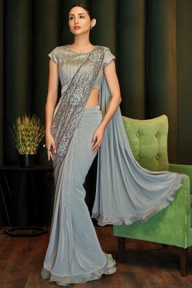 Trendy Grey Party Wear Saree For Women