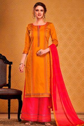 Trendy Musturd Yellow Cotton Silk Party Wear Salwar Suit