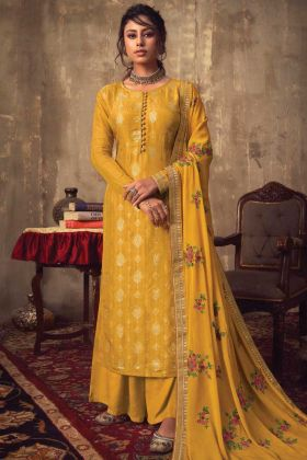 Trendy Musturd Yellow Thread And Jari Work Festive Wear Salwar Suit