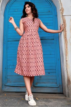 Trendy Printed Peach Color Heavy Rayon Western Wear Collection