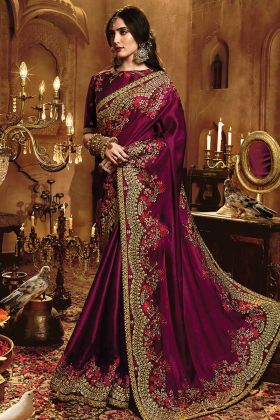 Trendy Purple Satin Silk Stone Work Saree
