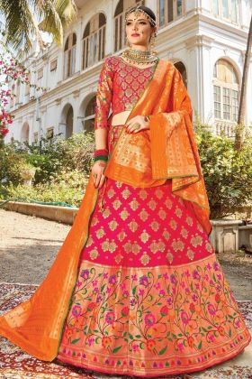Trendy Rani Pink Silk Bridal Lehenga Choli In Cheap Rate