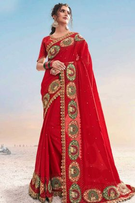 Trendy Red Color Pure Satin Saree Heavy Work For Karwa Chauth