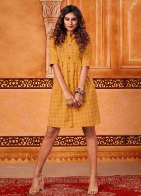 Trendy Tunic Pattern Readymade Kurti In Musturd Yellow Color