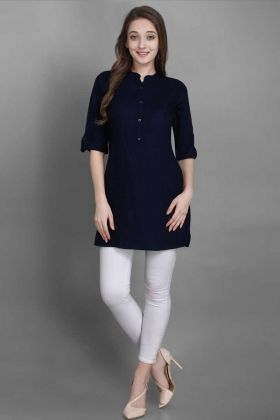 Trendy Tunic Pattern Readymade Kurti In Navy Blue Color