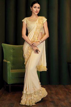 Trendy Yellow Silk Georgette Designer Saree