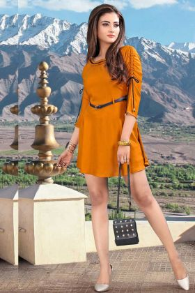 Trendy And Smart Readymade One-Piece In Rust Orange Color On Rayon Fabric