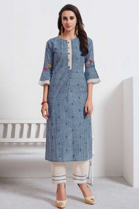 Trendy Look Cotton Weaving Casual Wear Kurti Blue With Thread Embroidered Work