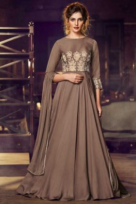 Trendy Modal Satin Brown Color Anarkali Suit For Party And Festival