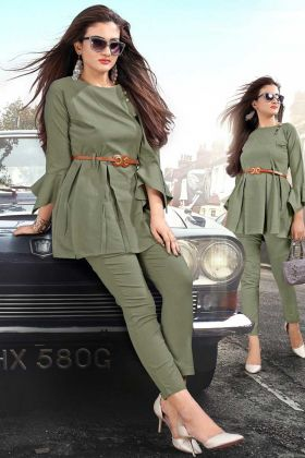 Trendy Pair Of Top With Pants In Olive Green Color