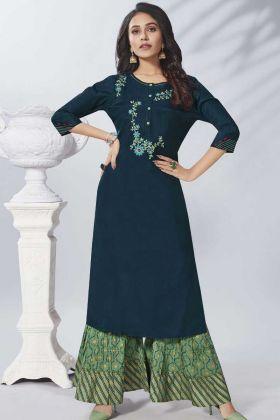 Trendy Pure Viscose Navy Blue Kurti With Green Sharara