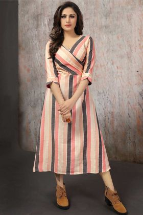 Trendy Readymade Cotton Anarkali Kurti Peach Color