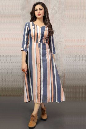 Trendy Readymade Cotton Kurti Blue And Peach Color
