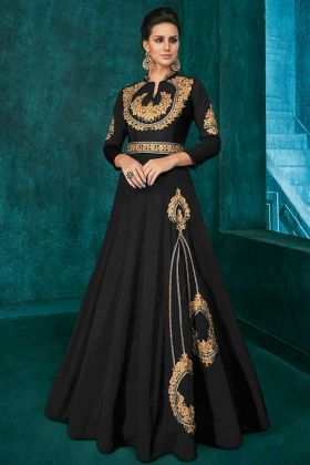 Triva Silk Designer Party Wear Black Gown