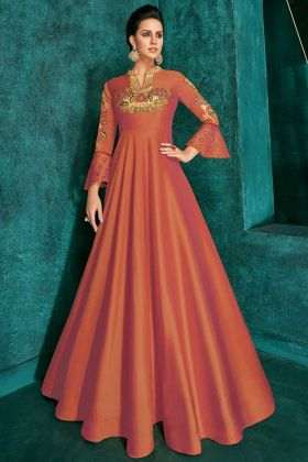 Triva Silk Dark Orange Anarkali Gown With Embroidered Work