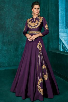 Triva Silk Party Wear Gown Embroidery Work In Purple Color