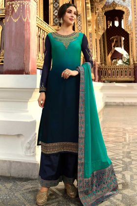 Turquoise And Dark Navy Blue Satin Georgette Plazo Dress