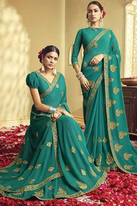 Turquoise Blue Color Georgette Embroidery Saree