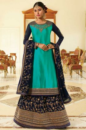 Turquoise Blue Color New Designer Satin Georgette Wedding Dress