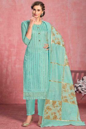 Turquoise Blue Festival Wear Cotton Suit