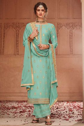 Turquoise Blue Jacquard Silk Plazo Suit For Party And Reception