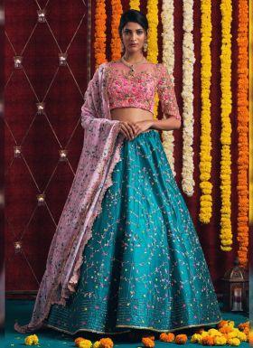 Turquoise Blue Thread Embroidery Lehenga Choli