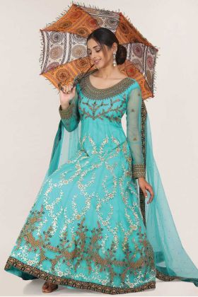 Turquoise Color Net Party Wear Readymade Gown