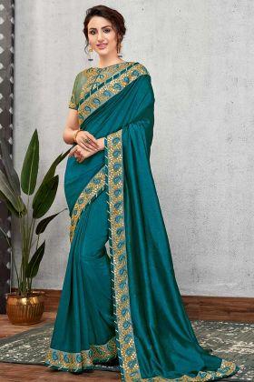 Turquoise Green Silk Georgette Saree In Gota Patti