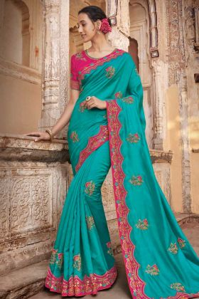 Turquoise Two Tone Barfi Silk Wedding Saree With Pink Border