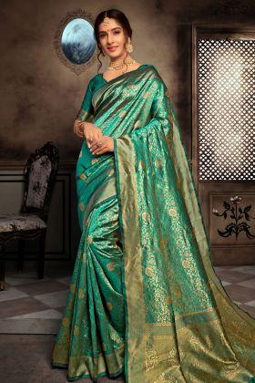 Turquoise Blue Art Silk Saree Online
