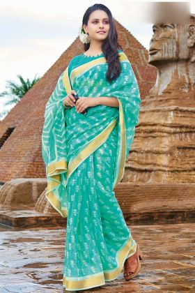 Turquoise Blue Color Cotton Chiffon Saree With Printed Work