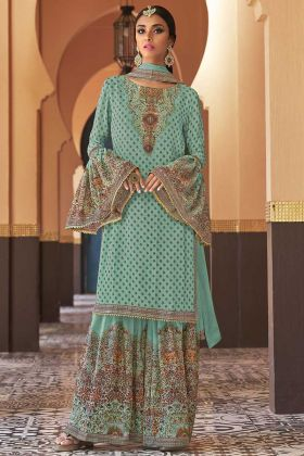 Turquoise Blue Color Georgette Sharara Suit With Printed Work