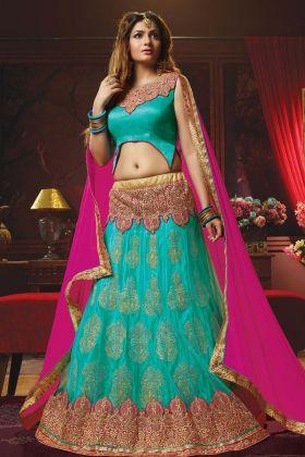 Turquoise Blue Jacquard Net Wedding Lehenga Choli