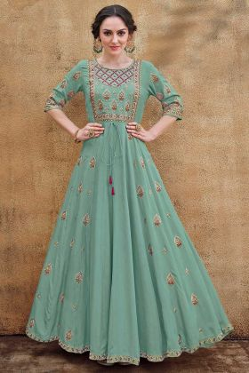 Turquoise Color Designer Gown With Thread Work