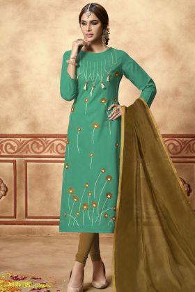 Turquoise Cotton Slub Straight Salwar Suit