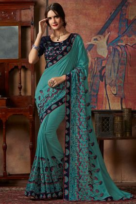 Turquoise Green Color Dolla Georgette Saree With Thread Silk Embroidery Work