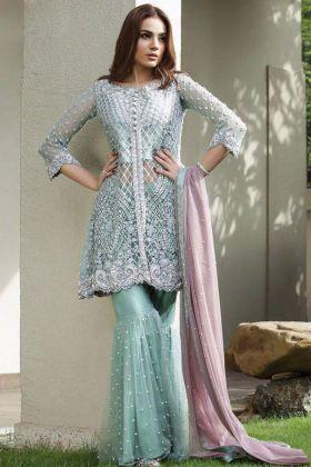 Turquoise Net Sharara Pakistani Dress