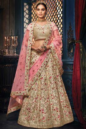 Tusaar Handloom Silk Heavy Designer Lehenga With Pink Dupatta