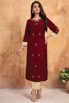 Tussar Satin Maroon Kurti With Cream Color Bottom