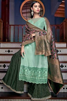 Tussar Art Silk Sharara Salwar Suit In Sea Green Color