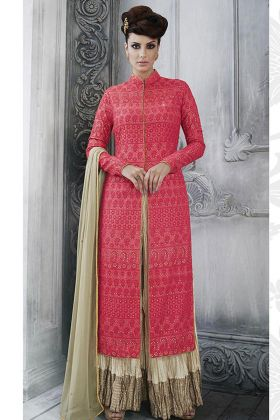 Tussar Silk Palazzo Dress Red Color With Multi Embroidery Work