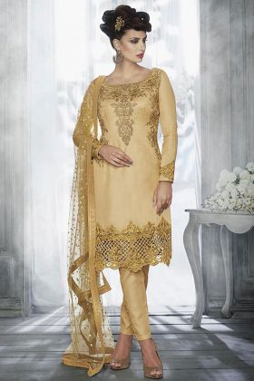 Tussar Silk Pant Style Dress Beige Color With Zari Embroidery Work