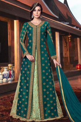 Tussar Silk Party Wear Indian Dresses Teal Green Color With Jacket