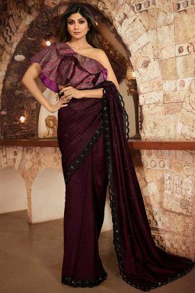 Tv Actress Shilpa Shetty Saree Dark Wine Color