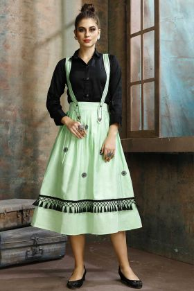 Two-Piece Readymade Dress Light Green Cotton Fabric