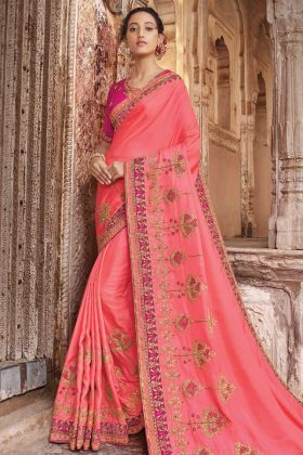 Two Tone Barfi Silk Pink Latest Saree Design